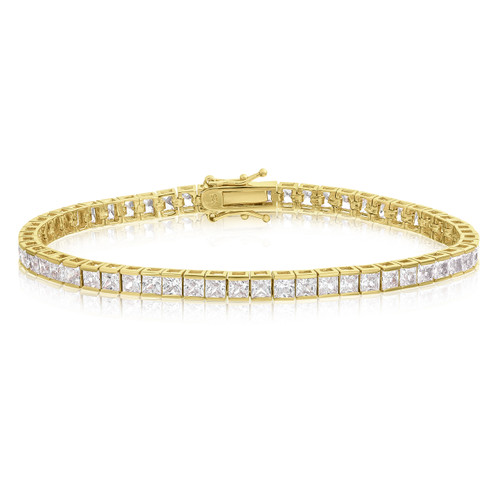 14k Gold over Sterling Silver AAA CZ Tennis Bracelet - 3x3 Square Princess Cut