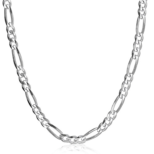 Solid .925 Sterling Silver 6.5mm Men's 180 Figaro Chain Necklace