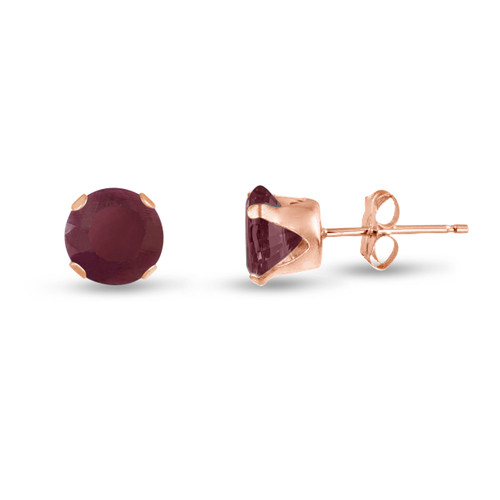 Genuine Ruby Round Stud Earrings in Rose Gold over Silver