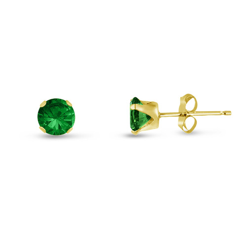Simulated Emerald CZ Round Stud Earrings in Gold over Silver