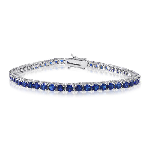 "3mm Created Blue Spinel Tennis Bracelet Rhodium over Brass - 6"" 7.25"" 8"" inch"