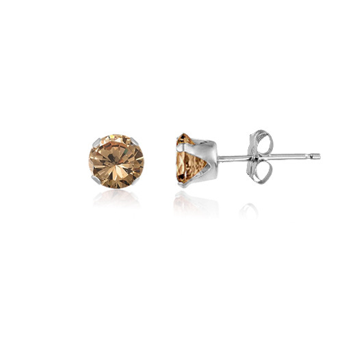 Champagne CZ Round Stud Earrings in Sterling Silver