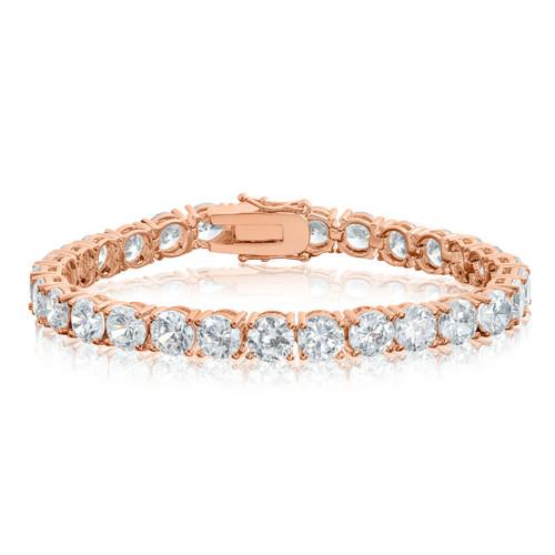 Rose Gold Plated Cubic Zirconia Tennis Bracelet 6mm Round CZ