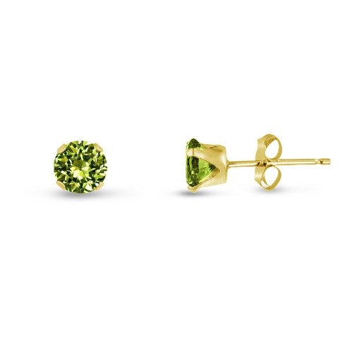 Lime Green CZ Round Stud Earrings in Gold over Silver