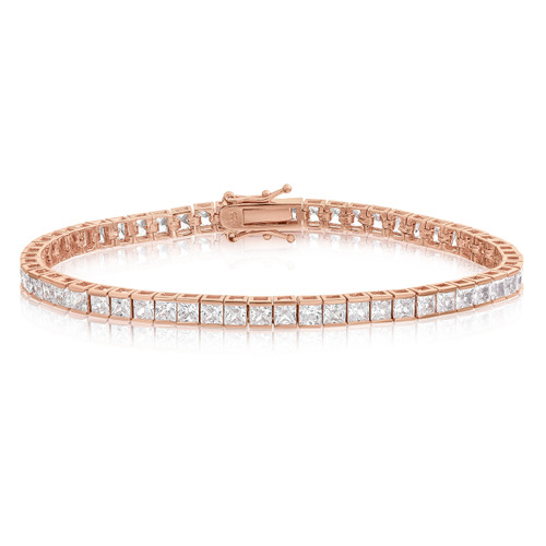 Sterling Silver Rose Gold Plated CZ Tennis Bracelet - Square Princess Cut 3x3mm