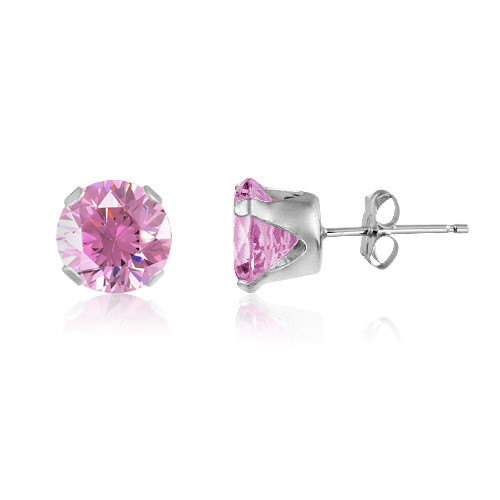 Pink CZ Round Stud Earrings in Sterling Silver