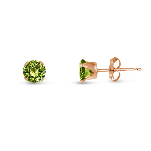 Lime Green CZ Round Stud Earrings in Rose Gold over Silver