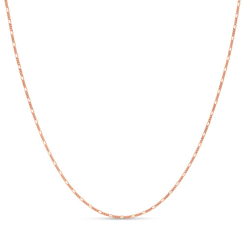 Rose Gold Plated .925 Sterling Silver 1.7mm Italian Figaro Chain Bracelet