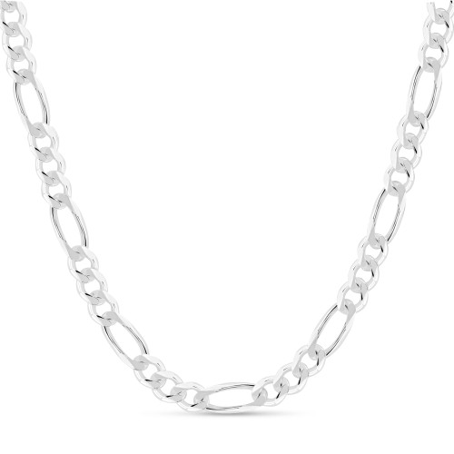 Solid .925 Sterling Silver 10mm Men's 250 Figaro Chain Necklace