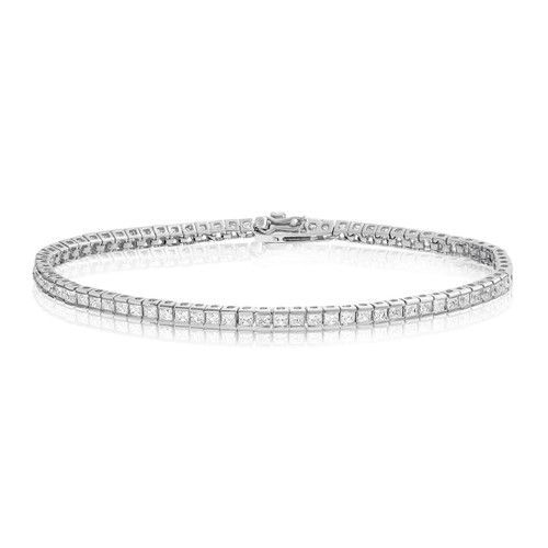 Princess Cut 2mm CZ Tennis Bracelet Rhodium Plated