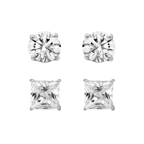 Sterling Silver Set Of 6mm Princess Cut, Round White CZ  Stud Earring