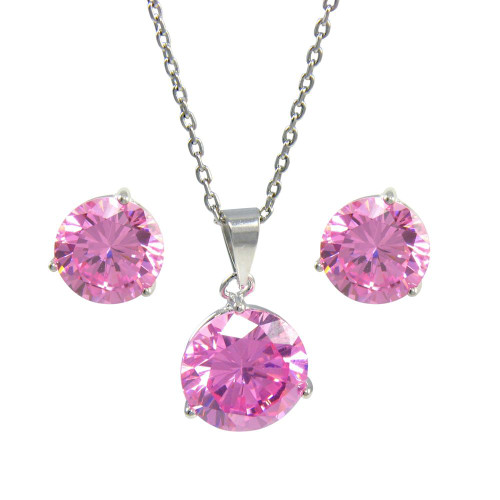 Platinum Plated Sterling Silver Pink Cubic Zirconia Pendant Necklace 11mm and Stud Earrings 10mm