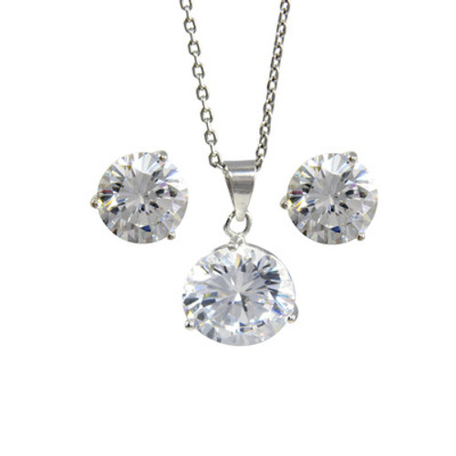 Platinum Plated Sterling Silver White Cubic Zirconia Pendant Necklace 9mm and Stud Earrings 8mm
