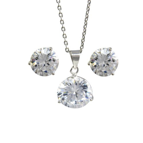 Platinum Plated Sterling Silver White Cubic Zirconia Pendant Necklace 12mm and Stud Earrings 11mm