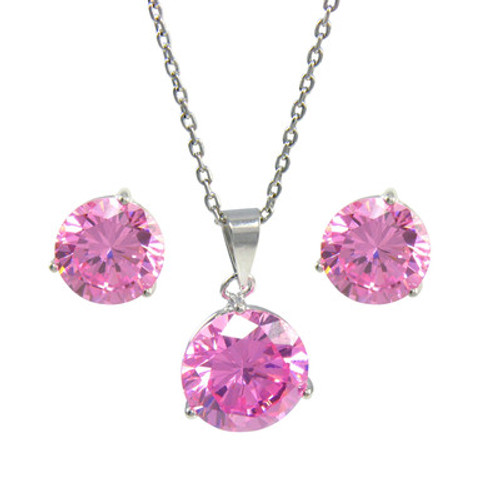 Platinum Plated Sterling Silver Pink Cubic Zirconia Pendant Necklace 9mm and Stud Earrings 8mm