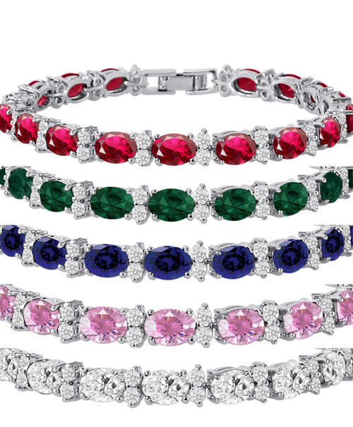 Silver Plated Brass Oval 7x5mm and Round 2.5mm CZ Tennis Bracelet - 7 inch