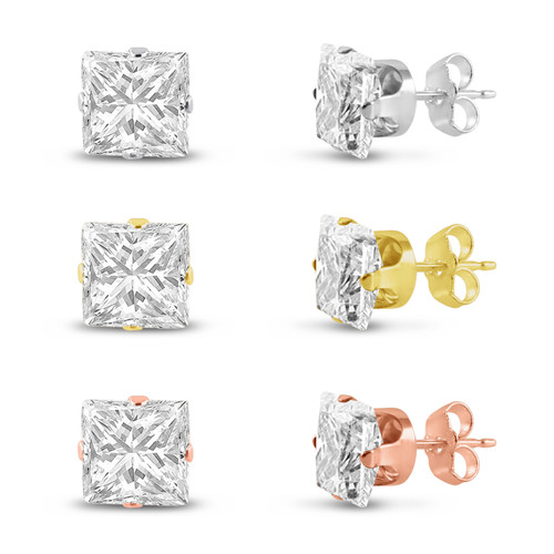 Three Pairs of Rose , 14K Gold Plated & Solid Sterling Silver Stud Earrings Princess Cut 9x9mm White CZ