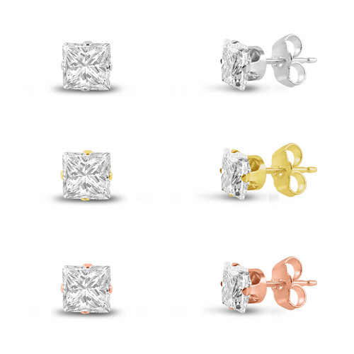 Three Pairs of Rose , 14K Gold Plated & Solid Sterling Silver Stud Earrings Princess Cut 2x2mm White CZ