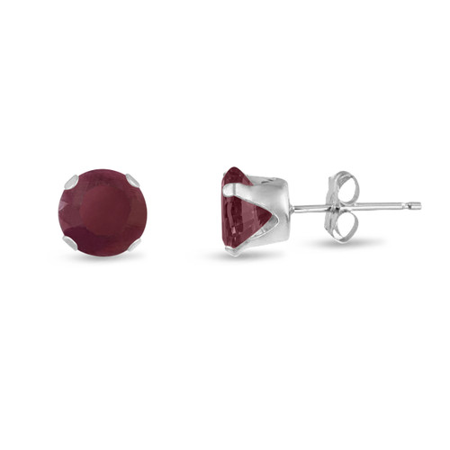 Round 8mm Genuine Red Ruby .925 Sterling Silver Stud Earrings