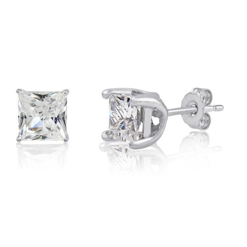 925 Solid Sterling Silver Lucida Set 5x5mm (2 TCW) Square White CZ Stud Earrings