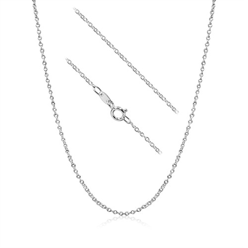 Sterling Silver Italian Cable Chain (030) w/spring ring -12 Inch