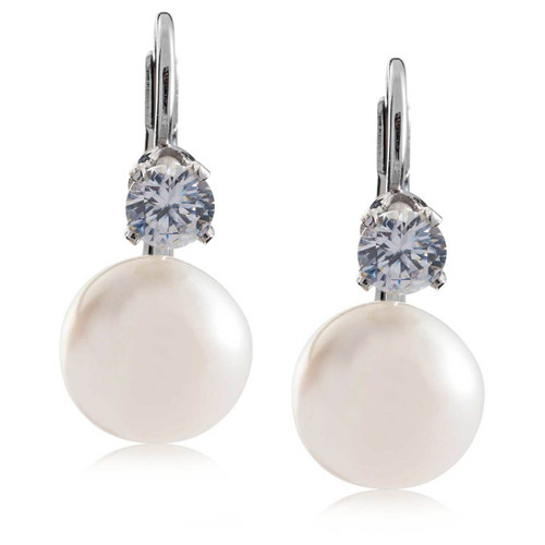 8mm White pearl and 4mm White CZ on Sterling Silver Lever Back Earring