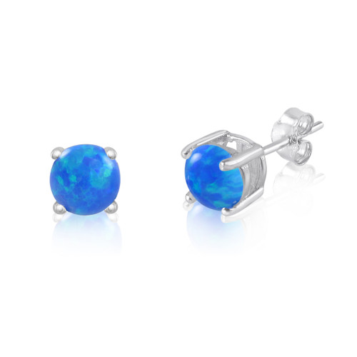 Solid 925 Sterling Silver 4mm Round Fiery Blue Synthetic Opal Stud Earrings