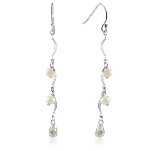 Dangling Freshwater Pearls Pear Shape Glass Bead Silver Earrings