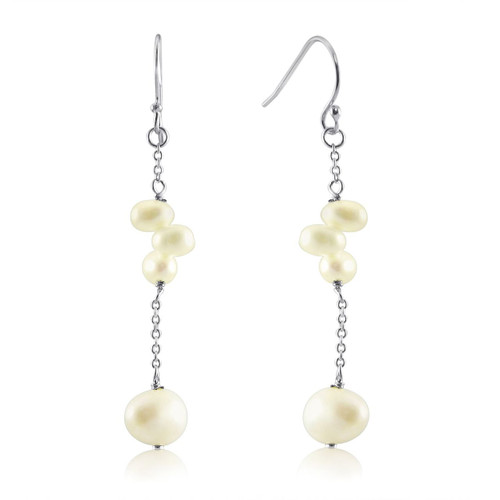 Freshwater Pearls Linked with Silver Cable Chain Dangling Earrings