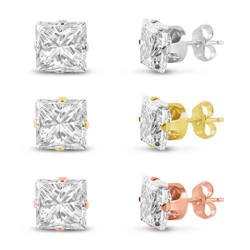 Three Pairs of Rose , 14K Gold Plated & Solid Sterling Silver Stud Earrings Square Cut 10x10mm White CZ