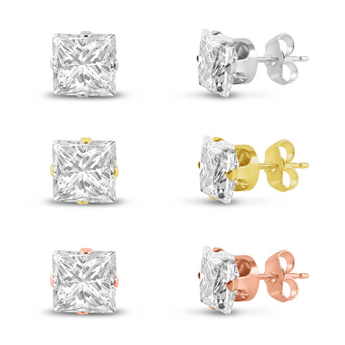 Three Pairs of Rose , 14K Gold Plated & Solid Sterling Silver Stud Earrings Princess Cut 8x8mm White CZ