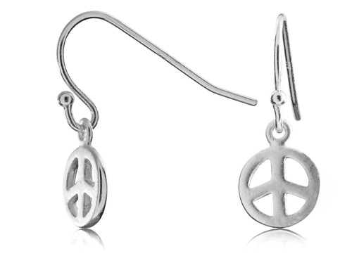 Sterling Silver Peace Sign Ball Tip Wire Earring
