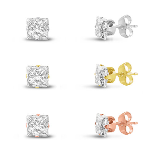Three Pairs of Rose , 14K Gold Plated & Solid Sterling Silver Stud Earrings Princess Cut 3x3mm White CZ