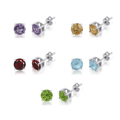 FIVE PAIRS Round 5mm Genuine Gemstone Earrings in 925 Sterling Silver Basket Set