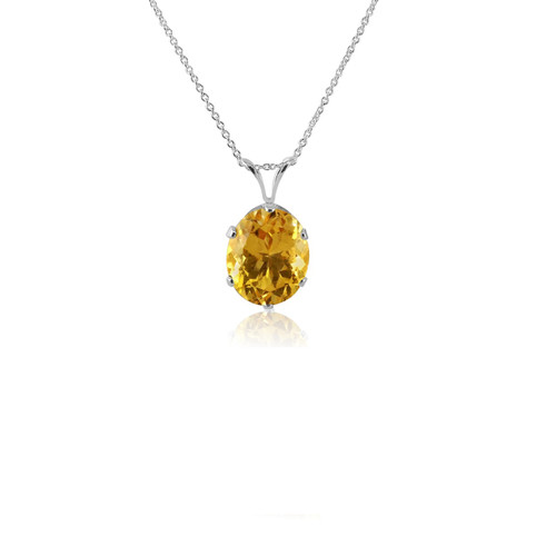 925 Sterling Silver 12x10mm Oval Shaped Genuine Yellow Citrine Pendant