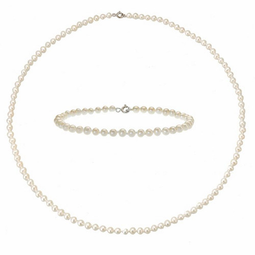 Holiday Gift! Genuine 4mm Freshwater Pearl Necklace AND Bracelet Set Silver Clsp