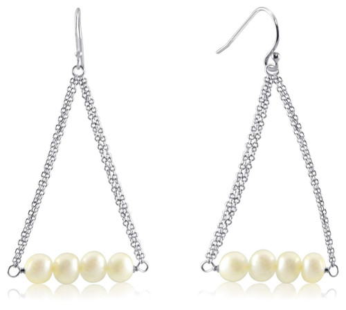 Dangling Freshwater Pearls from Sterling Silver Cable Chain Ear Wire Earrings