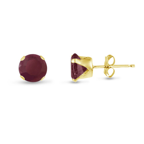 Round 8mm 14k Gold Plated Sterling Silver Genuine Ruby Stud Earrings, Free Gift Box included