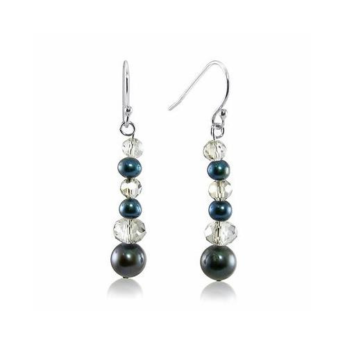 Genuine Cultured Freshwater Peacock Pearl with Crystal Beads Dangling Earrings
