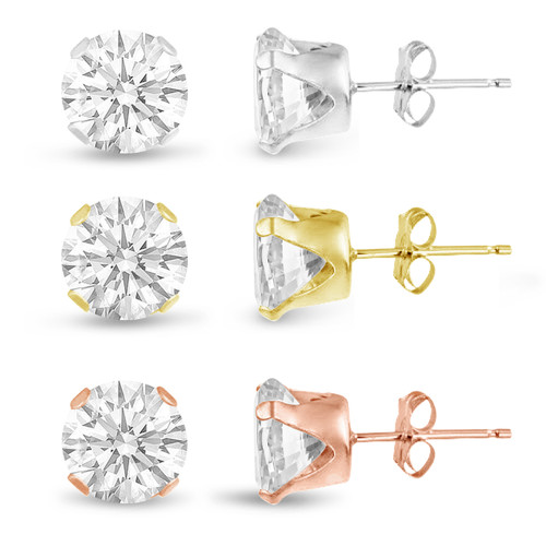 Three Pairs of Rose , 14K Gold Plated and Solid Sterling Silver Stud Earrings Round Cut 10mm White CZ