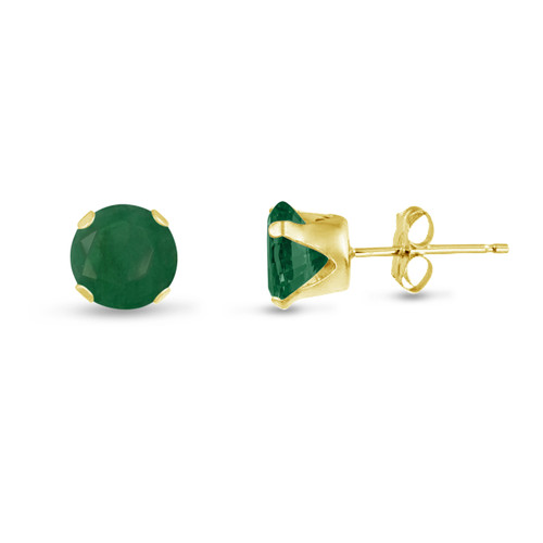 Round 7mm 14k Gold Plated Sterling Silver Genuine Emerald Stud Earrings, Free Gift Box included