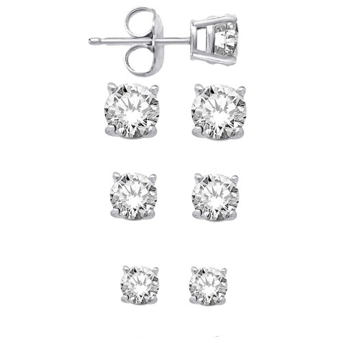 Sterling Silver Elegant Round CZ Stud Earrings Set Of Three Sizes