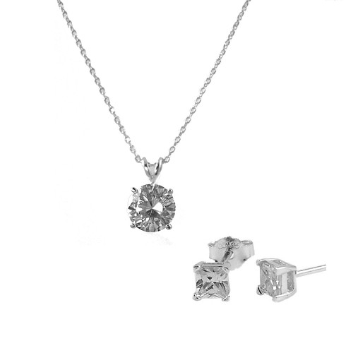 6mm Round Pendant with Chain 4mm Square Earring Set White Gold Plated