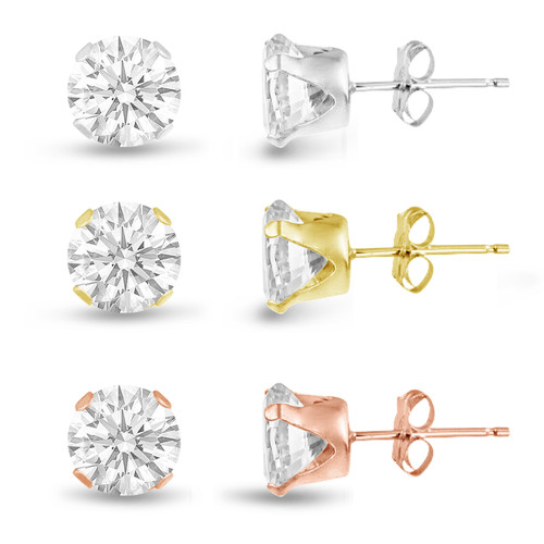 Three Pairs of Rose , 14K Gold Plated and Solid Sterling Silver Stud Earrings Round Cut 8mm White CZ