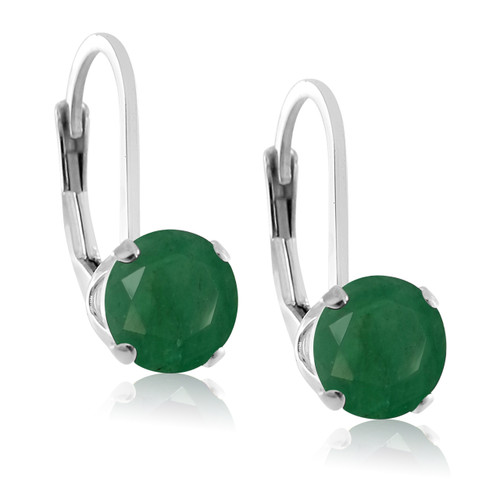 Rhodium Plated Sterling Silver 5mm Brilliant Round Genuine Green Emerald Lever Back Dangling Earrings
