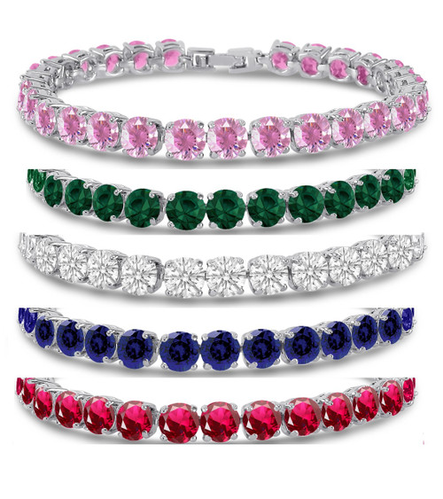 21.00 Ct Brilliant Cut Cubic Zirconia CZ Tennis Bracelet 7 Inch - Free Shipping