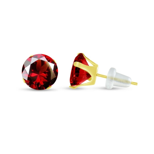 10K Yellow Gold Round Simulated Red Garnet CZ Stud Earrings