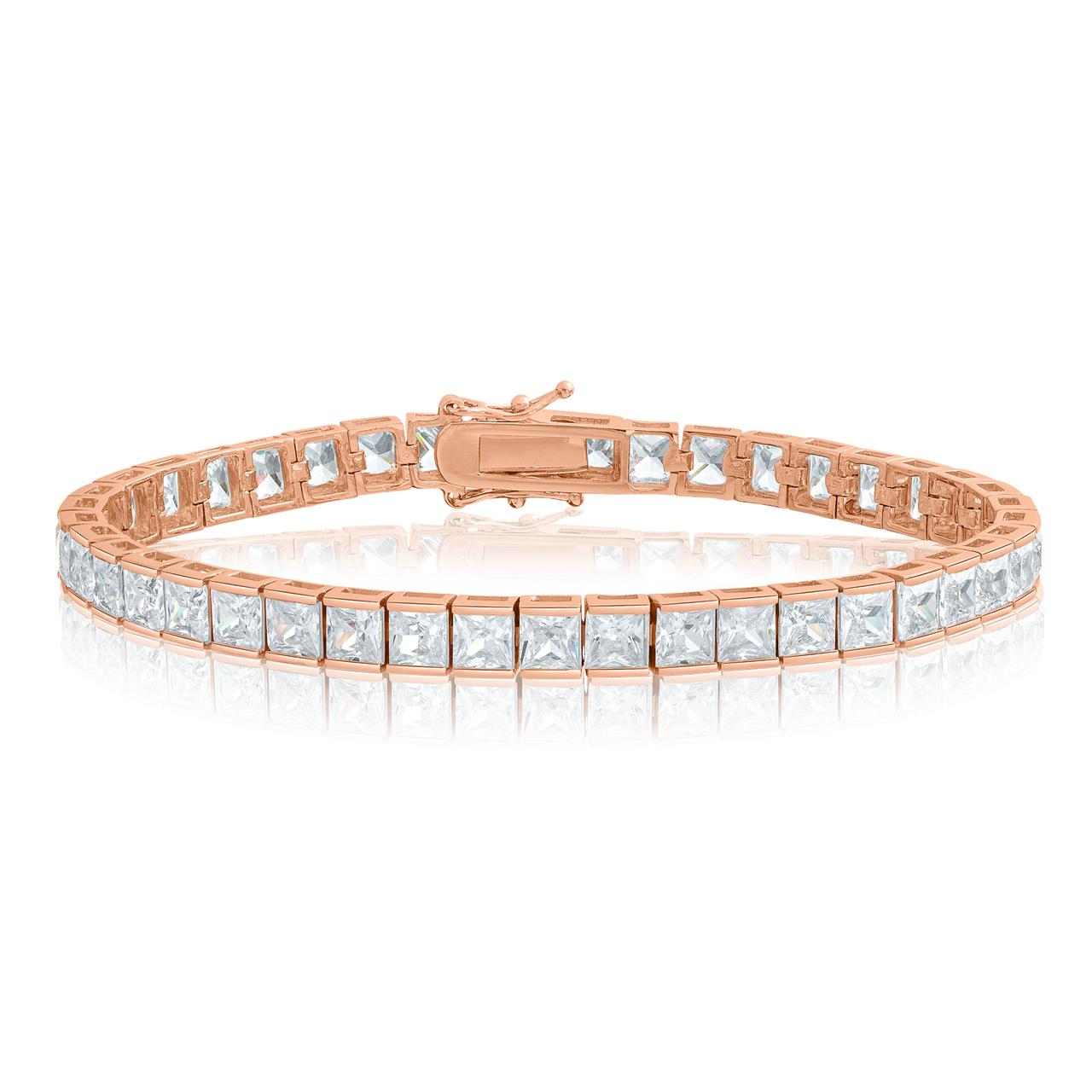 62cb62c1ed017 Cubic Zirconia Tennis Bracelet Rose Gold Plated 4x4mm Square White CZ