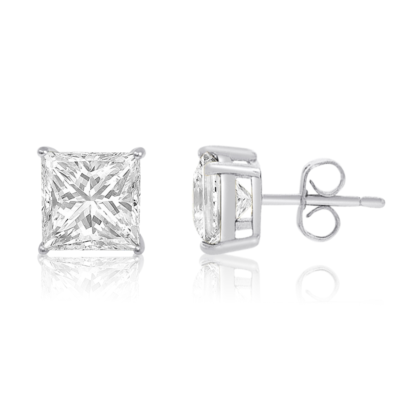 73673f58a Sterling Silver .925 Solid Stud Earrings Basket Set Cubic Zirconia Square Cut  CZ