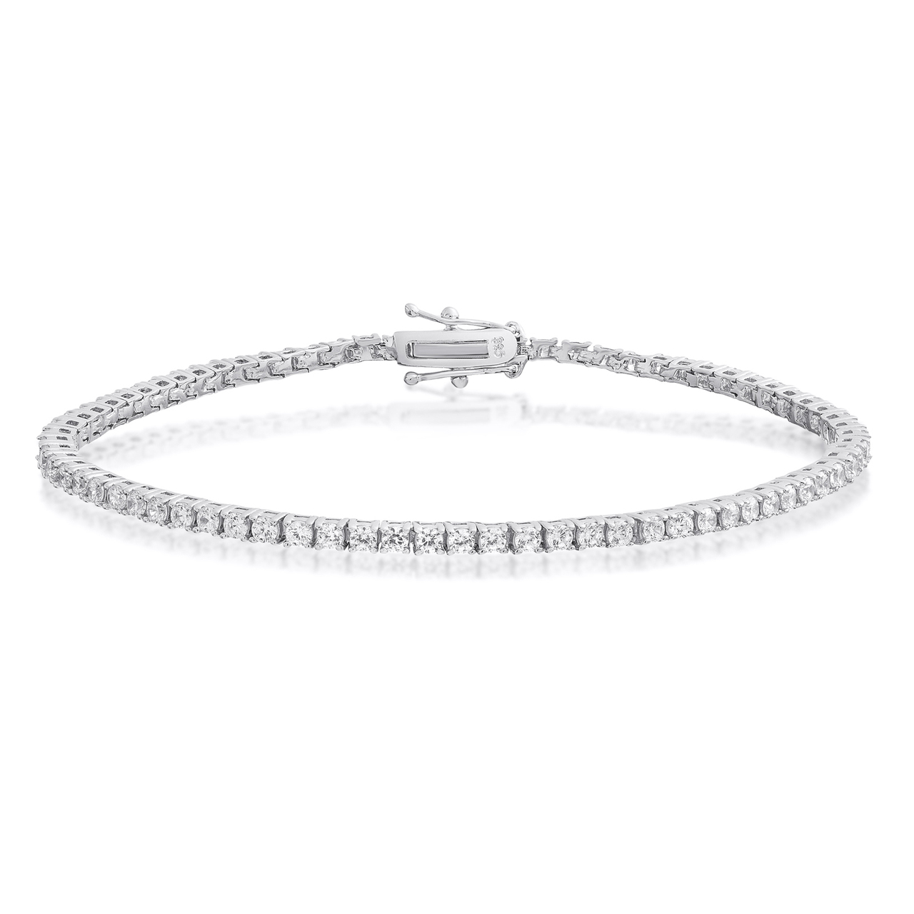 Brilliant Cut Zircon Cubic Black 925 Silver 2 MM Tennis Bracelet